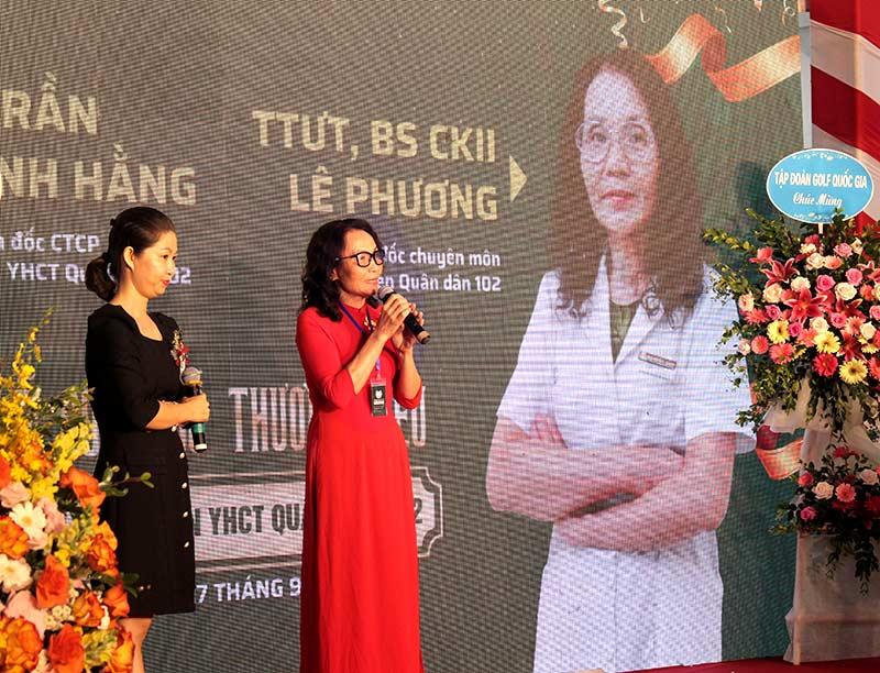Bác sĩ Lê Phương phát biểu tại buổi lễ công bố Bệnh viện Đa khoa YHCT Quân Dân 102