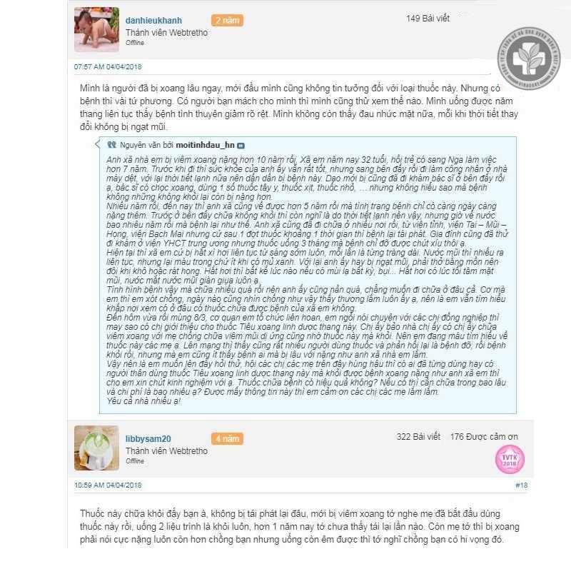 Phản hồi của người bệnh về thuốc Tiêu xoang Linh dược thang trên webtretho