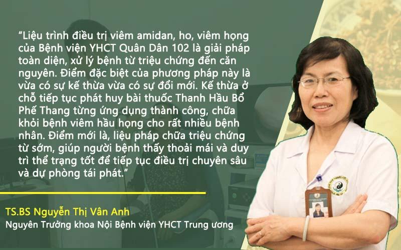 Bác sĩ Vân Anh nhận xét liệu trình bệnh viện