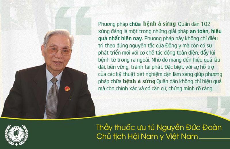 Thầy thuốc ưu tú Nguyễn Đức Đoàn đánh giá về bài thuốc chữa á sừng Quân dân 102