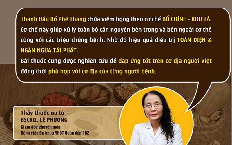 Bác sĩ Lê Phương nói về Thanh Hầu Bổ Phế Thang