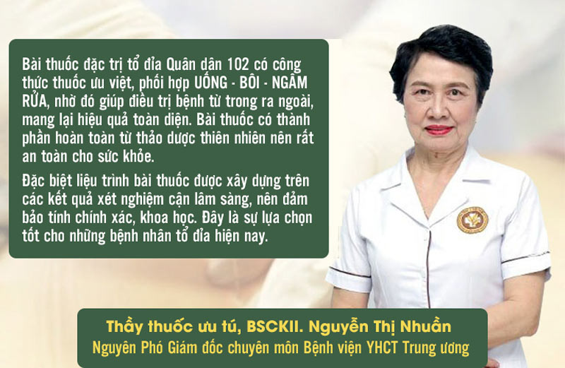 Đánh giá của bác sĩ Nguyễn Thị Nhuần về liệu pháp chữa tổ đỉa tại Quân dân 102