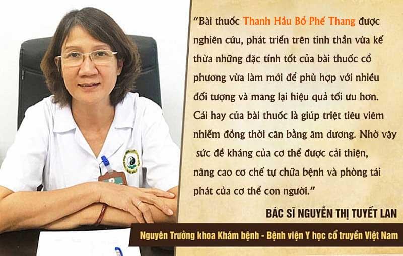 Bác sĩ Tuyết Lan đánh giá về bài thuốc