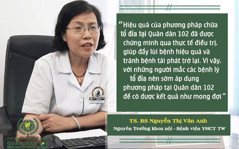 Đánh giá của bác sĩ Nguyễn Thị Vân Anh về liệu pháp chữa tổ đỉa tại Quân dân 102