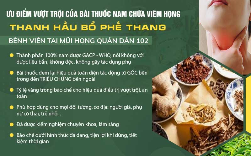 Ưu điểm Thanh Hầu Bổ Phế Thang