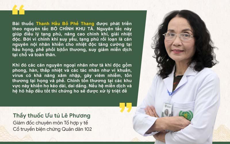 Bác sĩ Lê Phương nói về cơ chế điều trị ho của Thanh hầu bổ phế thang