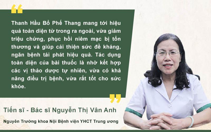 Bác sĩ Vân Anh đánh giá cao bài thuốc Thanh hầu bổ phế thang
