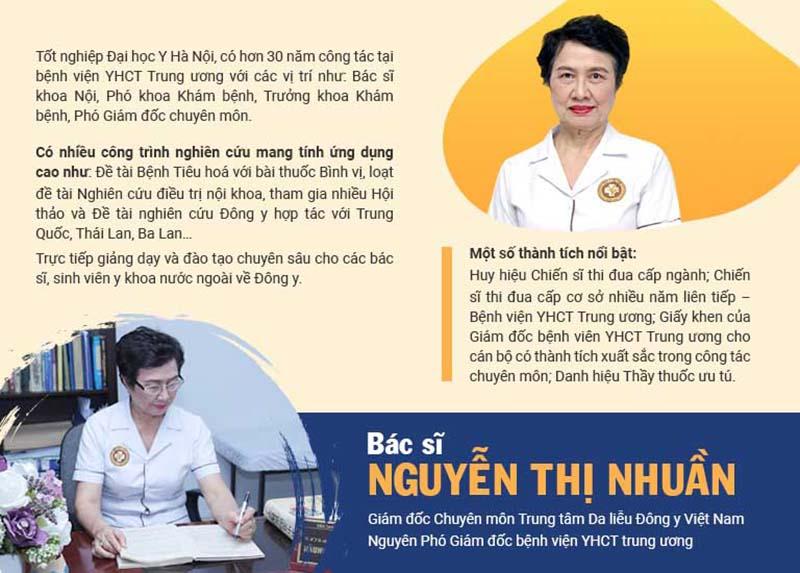 Bác sĩ Nguyễn Thị Nhuần có nhiều năm kinh nghiệm trong lĩnh vực khám chữa bằng YHCT