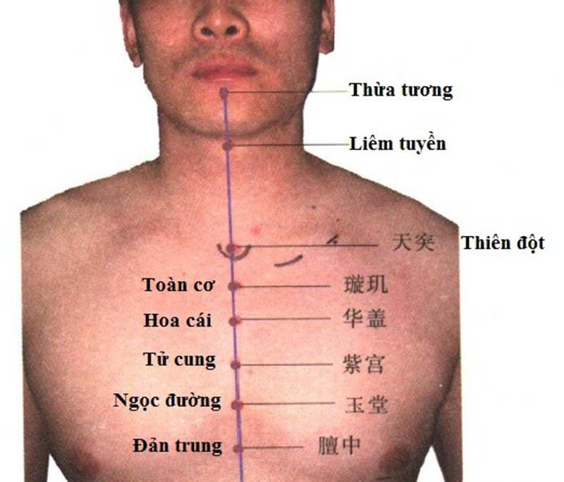 Bấm huyệt Liêm tuyền chữa viêm họng