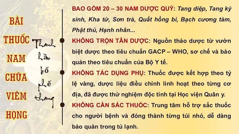 Thanh Hầu Bổ Phế ThangƯu điểm của Thanh hầu bổ phế thang