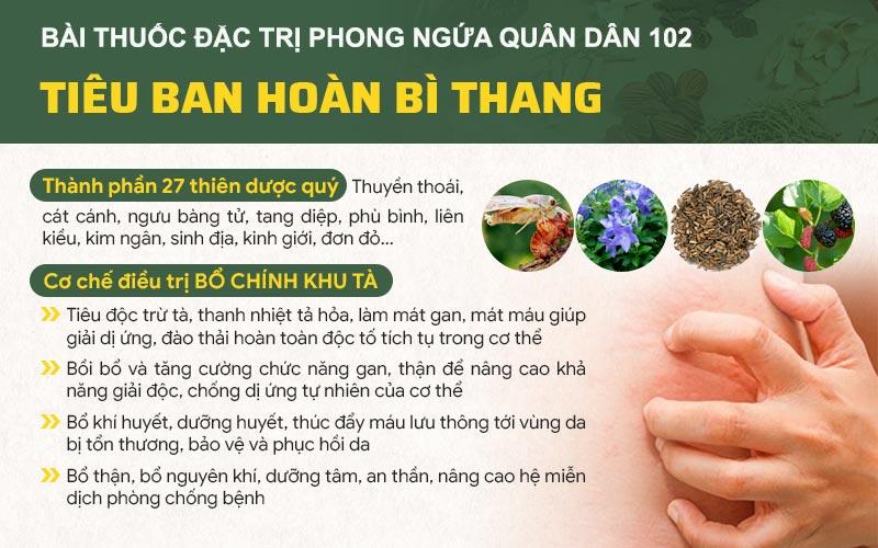 Thành phần và công dụng của bài thuốc đặc trị phong ngứa Quân dân 102