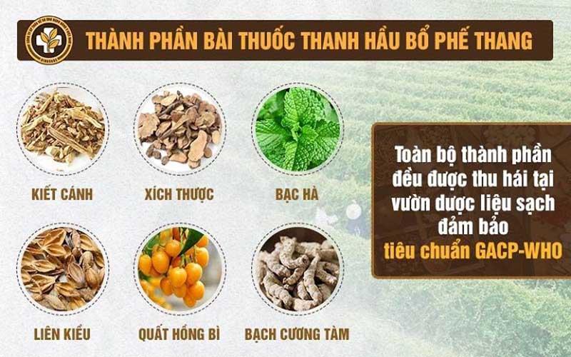 Thành phần nguyên liệu bài thuốc nam Thanh hầu bổ phế thang chữa viêm amidan hốc mủ