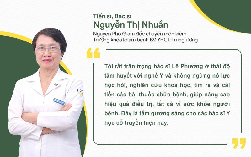 Bác sĩ Nguyễn Thị Nhuần đánh giá cao chuyên môn, tâm huyết của bác sĩ Lê Phương