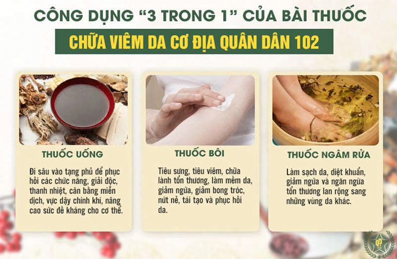 Bài thuốc kết hợp uống - bôi - ngâm rửa giúp mang đến hiệu qủa toàn diện