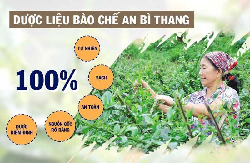 An Bì Thang sử dụng nguồn nguyên liệu sạch, 100% tự nhiên