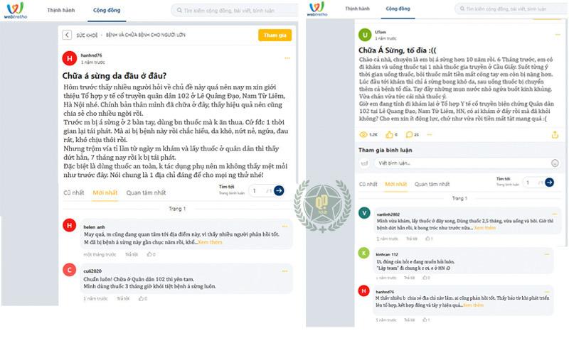 Người bệnh để lại bình luận phản hồi về hiệu quả chữa á sừng tại Quân dân 102