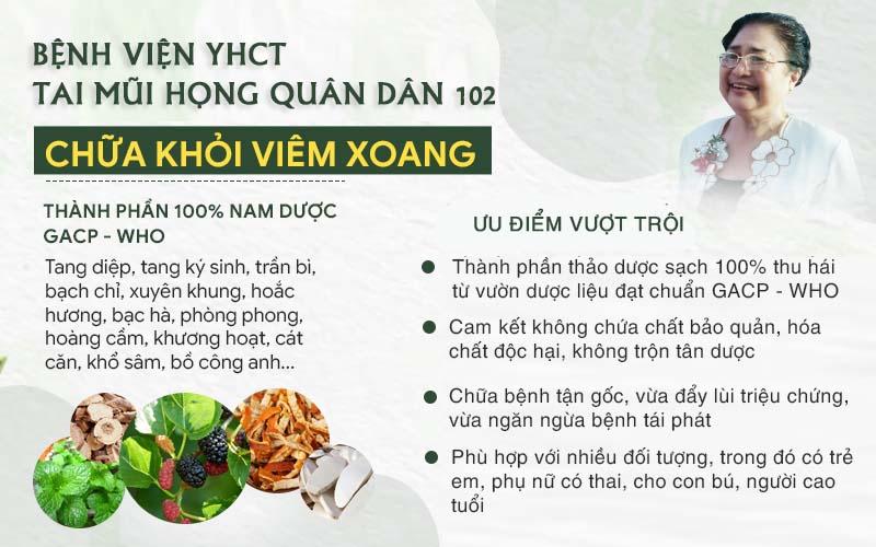 Ưu điểm vượt trội của phương pháp chữa viêm xoang từ bệnh viện Tai Mũi Họng Quân dân 102