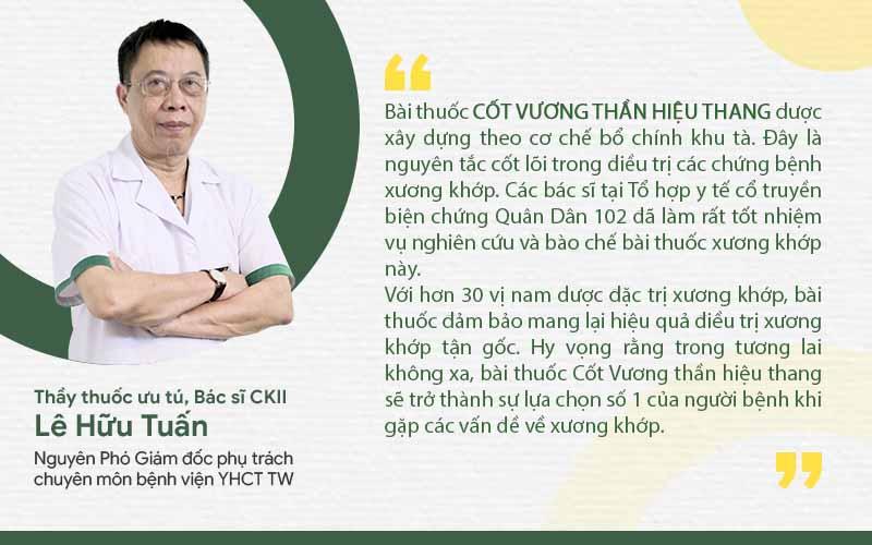 Bác sĩ Lê Hữu Tuấn nhận xét về bài thuốc Cốt Vương thần hiệu thang
