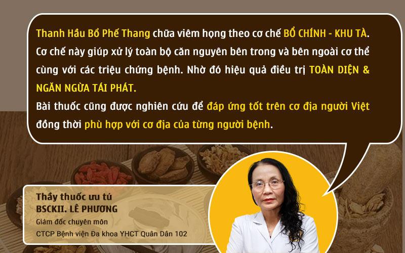 Bác sĩ Lê Phương chia sẻ về cơ chế điều trị của Thanh Hầu Bổ Phế Thang