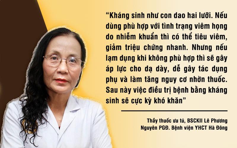 Bác sĩ Lê Phương khuyến cáo không nên dùng kháng sinh tùy tiện