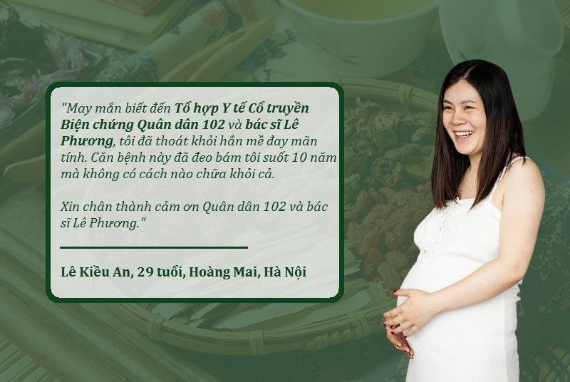 Nhờ Quân dân 102, chị An chữa khỏi mề đay thành công, không tái phát ngay cả khi mang bầu