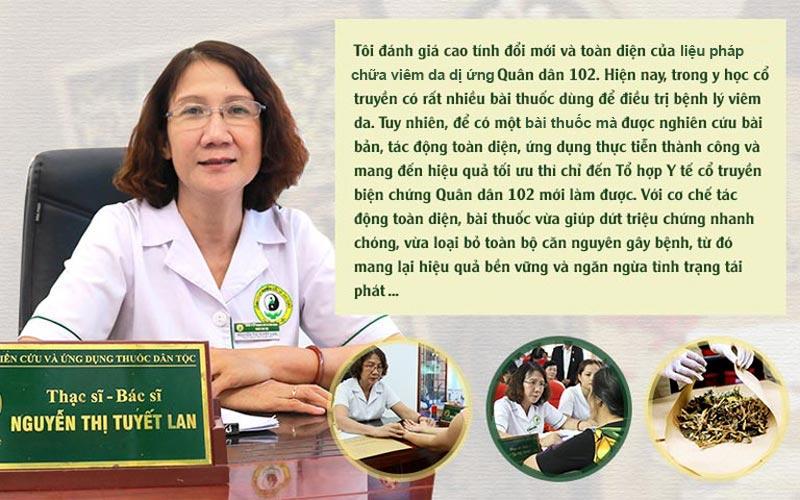Bác sĩ Nguyễn Thị Tuyết Lan đánh giá về bài thuốc đặc trị viêm da dị ứng tại Tổ hợp y tế Quân dân 102