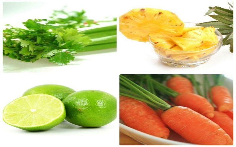 Chữa viêm khớp bằng quả dứa, cà rốt, chanh và cần tây