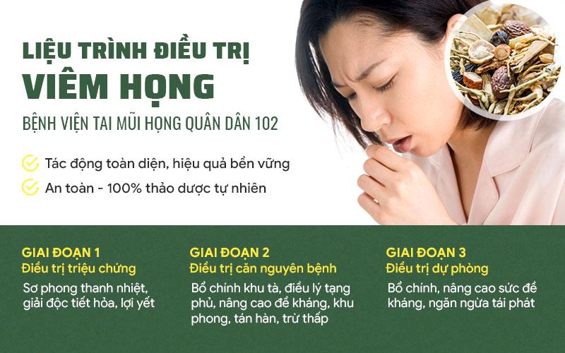 Liệu trình chữa viêm họng Quân dân 102