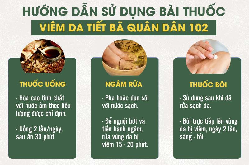 Bài thuốc viêm da tiết bã Quân dân 102 với 3 dạng bào chế tiện lợi, dễ sử dụng