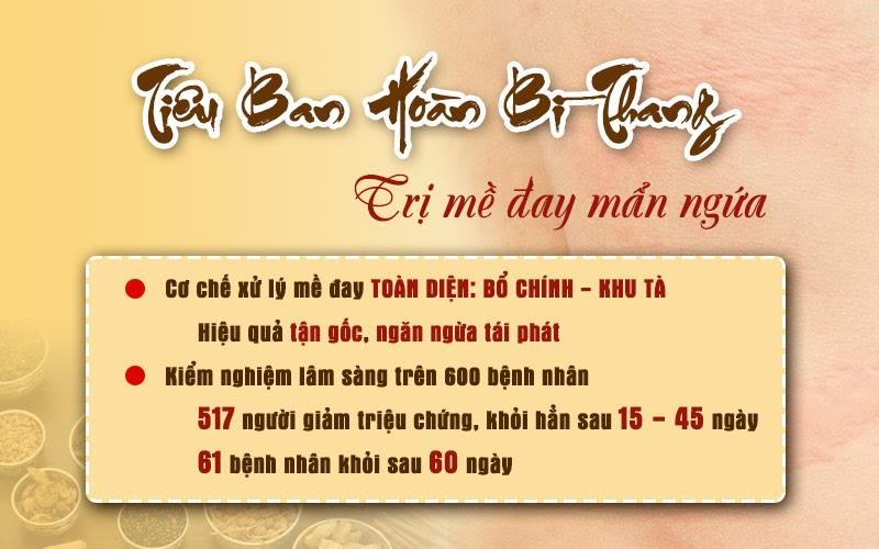 Trung tâm Đông y Việt Nam chữa mề đay mãn tính bằng Tiêu Ban Hoàn Bì Thang