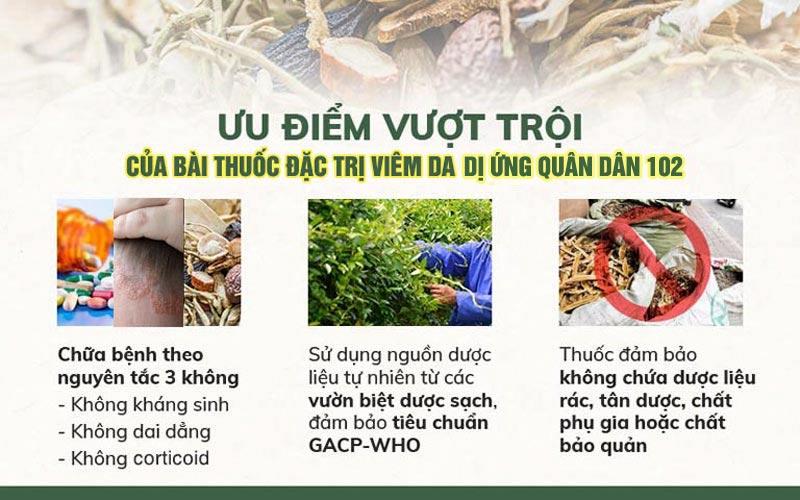 Bài thuốc viêm da cơ địa cơ địa Quân dân 102 có ưu điểm nổi bật với thành phần dược liệu đạt chuẩn GACP-WHO