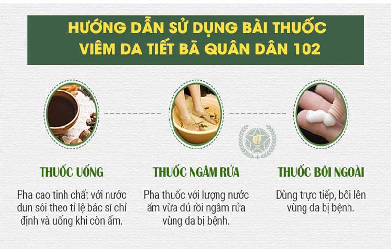 Cách sử dụng bài thuốc uống - bôi - ngâm rửa trị viêm da dầu Quân dân 102