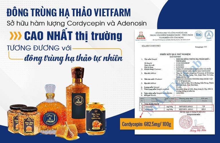 Đông trùng hạ thảo Vietfarm đã được kiểm định từ cơ quan có thẩm quyền