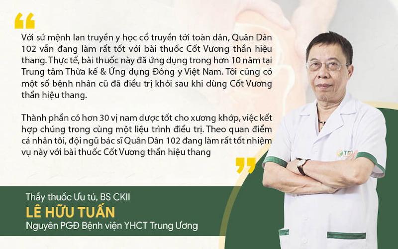 Thầy thuốc ưu tú, BSCKII Lê Hữu Tuấn đánh giá cao về bài thuốc Cốt Vương thần hiệu thang