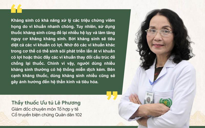 Bác sĩ Lê Phương khuyến cáo người bệnh không nên dùng kháng sinh tuỳ tiện