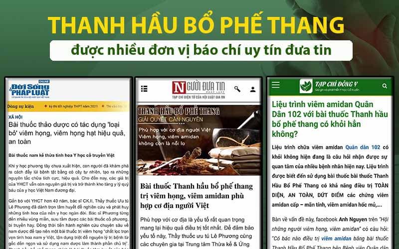 Báo chí đưa tin về Thanh hầu bổ phế thang
