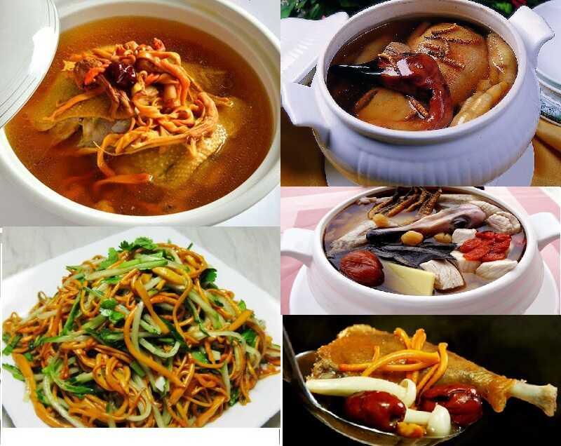 Trùng thảo khô kết hợp nấu với các thực phẩm dinh dưỡng sẽ tăng thêm độ dinh dưỡng cho món ăn