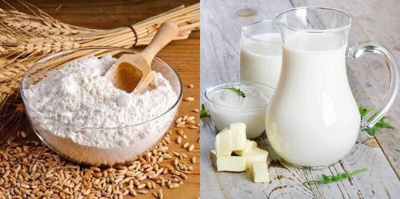 Cám gạo và sữa tươi không đường giúp da trắng mịn, ngăn ngứa da khó chịu