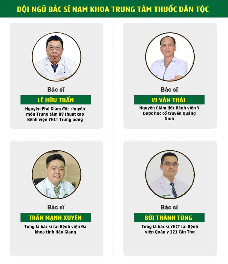 Đội ngũ y bác sĩ phụ trách nam khoa tại Trung tâm Nghiên cứu và Ứng dụng Thuốc dân tộc