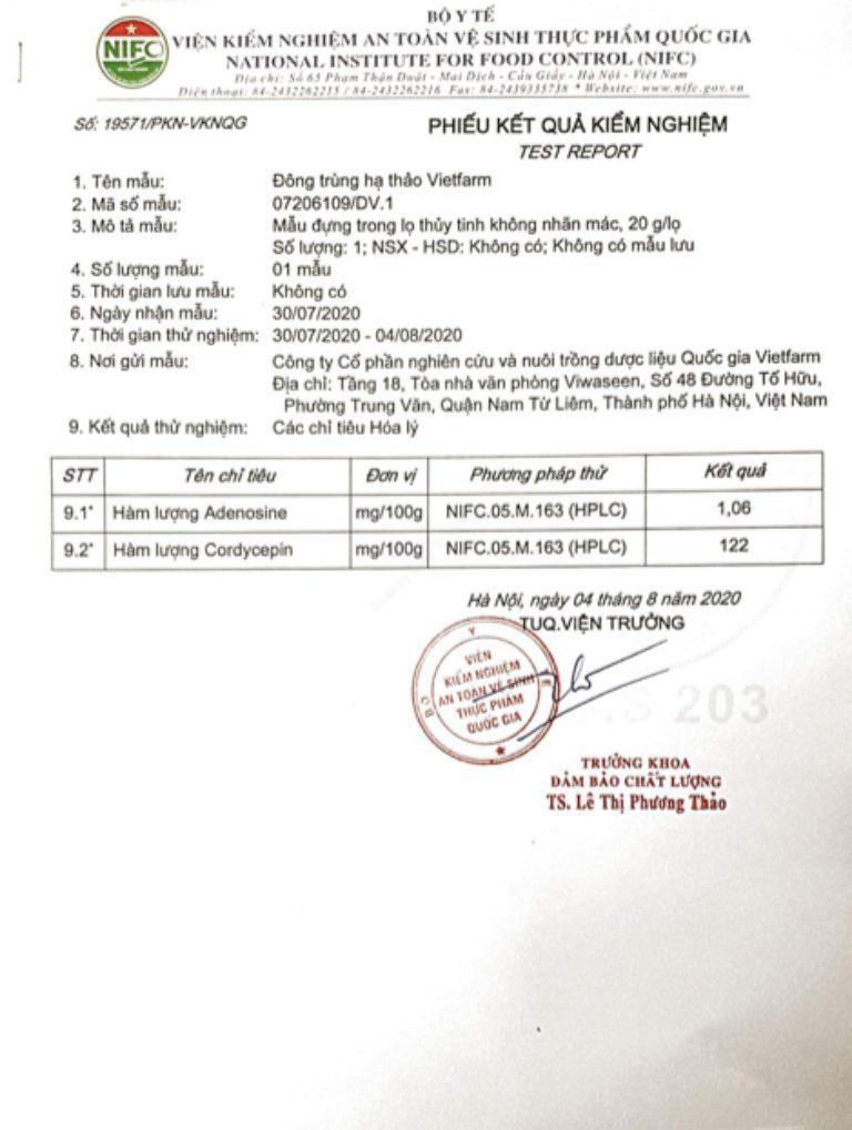 Giấy kiểm định hàm lượng hợp chất quý trong ĐTHT Vietfarm do Bộ Y Tế cấp phép