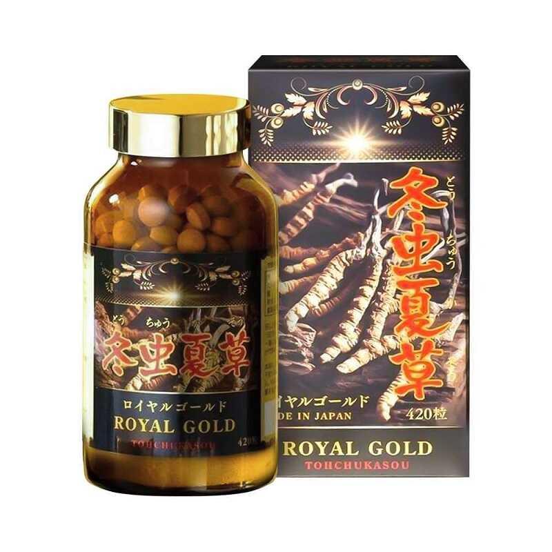 Tohchukasou Royal Gold là thuốc viên nén đông trùng hạ thảo vàlinh chi đỏ