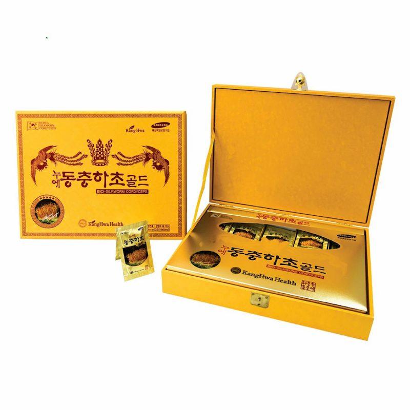 Nước đông trùng hạ thảo hộp gỗ vàng 60 gói KangHwa Hàn Quốc