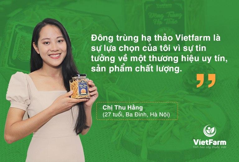Khách hàng đánh giá cao chất lượng đông trùng hạ thảo Vietfarm