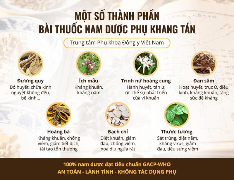 Một số thành phần thảo dược có trong Phụ Khang Tán