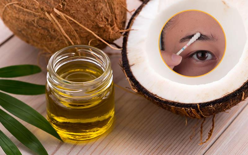 Sử dụng dầu dừa bôi lên đầu chân mày có thể giúp giảm ngứa hiệu quả