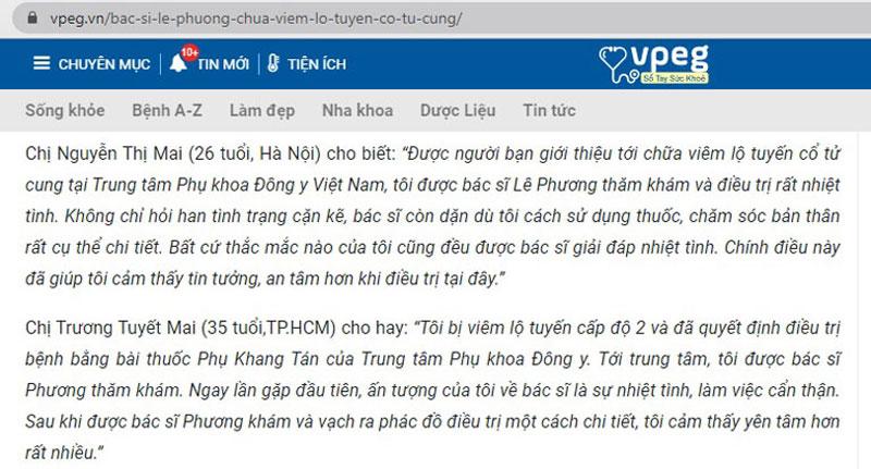Bệnh nhân khá tin tưởng và hài lòng với sự tận tình của bác sĩ Lê Phương