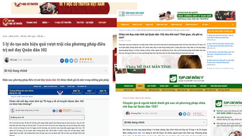 Nhiều trang báo, tạp chí sức khỏe đưa tin về phương pháp chữa mề đay Quân dân 102