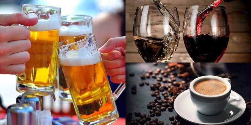 Người bị sỏi mật nên kiêng các loại đồ uống như bia, rượu, cà phê,...