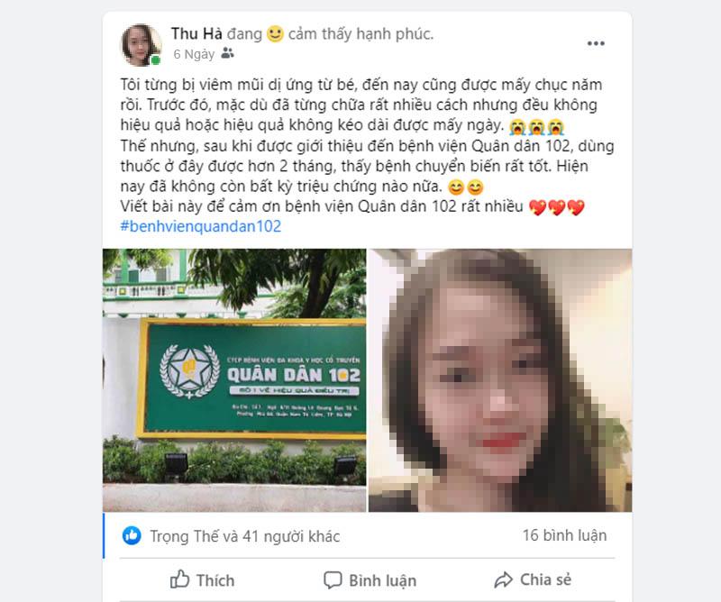 Chia sẻ của chị Thu Hà trên mạng xã hội