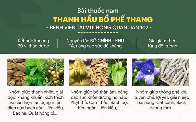 Thành phần bài thuốc Thanh Hầu Bổ Phế Thang